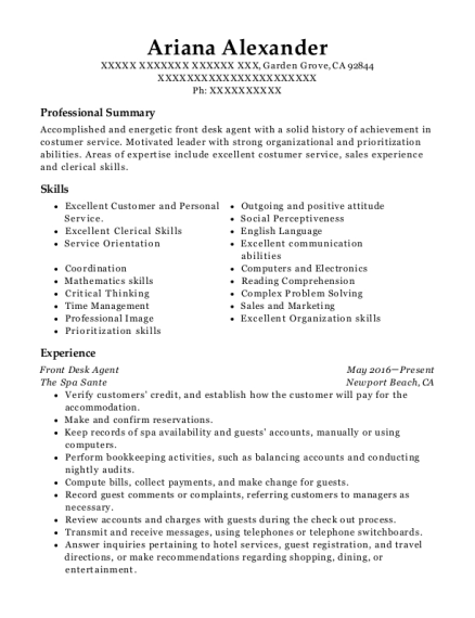 Front Desk Agent resume template California