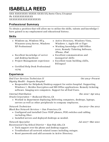 End User Services Technician II resume example California