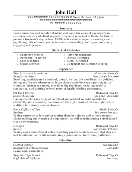 Benefits Assistant resume template California