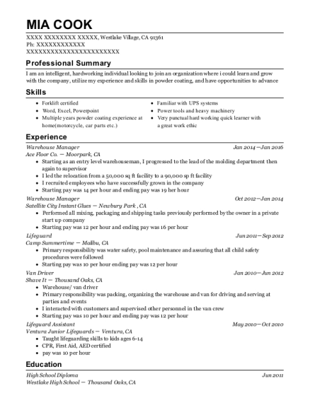 Warehouse Manager resume template California