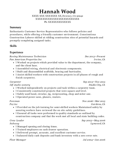 Roving Maintenance Technician resume example California