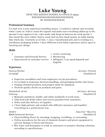 Factory Worker resume format California