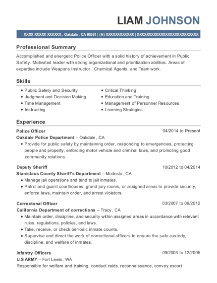 Police Officer resume example California