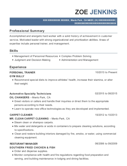 Personal Trainer resume sample California