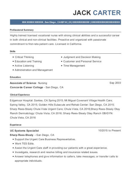 UC Systems Specialist resume format California