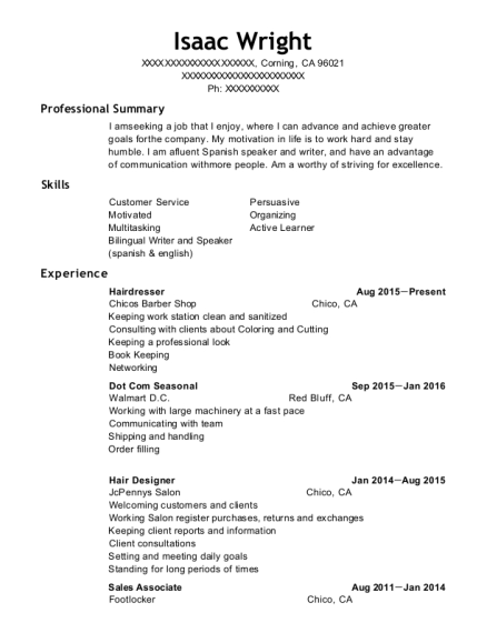 Hairdresser resume sample California