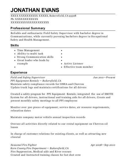 Field and Safety Supervisor resume sample California