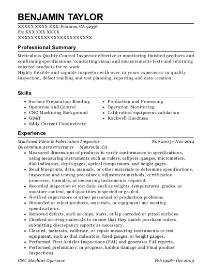 Machined Parts & Fabrication Inspector resume format California