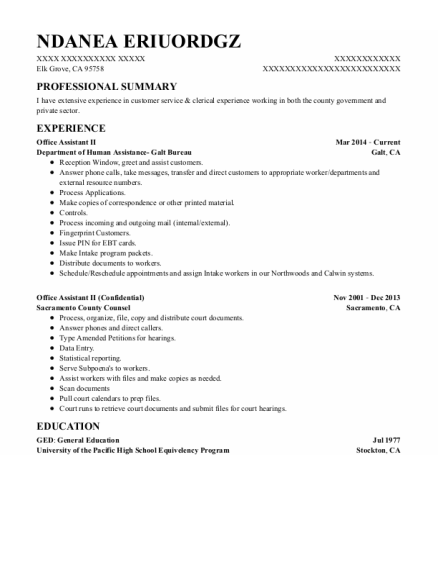 Office Assistant Ii resume sample California