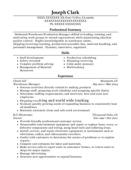 Warehouse Manager resume sample California