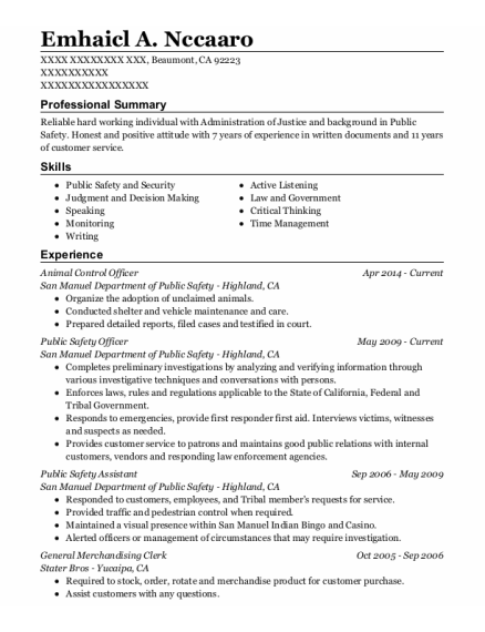 Animal Control Officer resume sample California