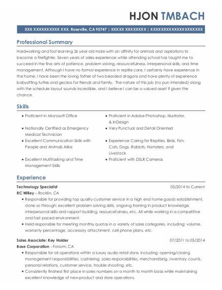 Information Technology Specialist resume format California