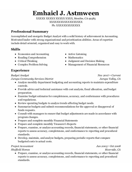 Budget Analyst resume sample California