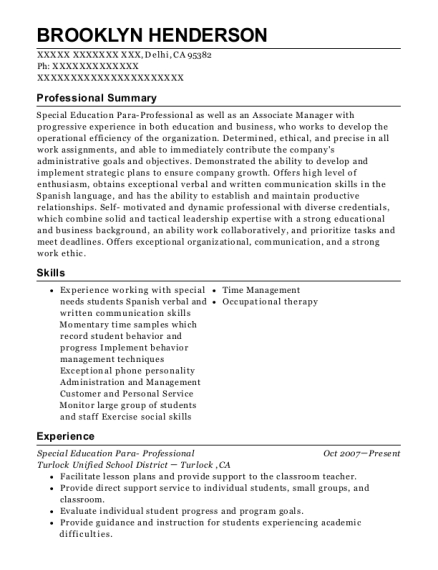 Special Education Para Professional resume format California