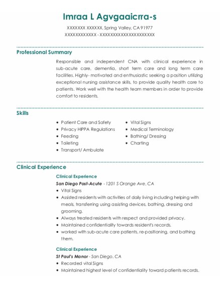 Clinical Experience resume example California