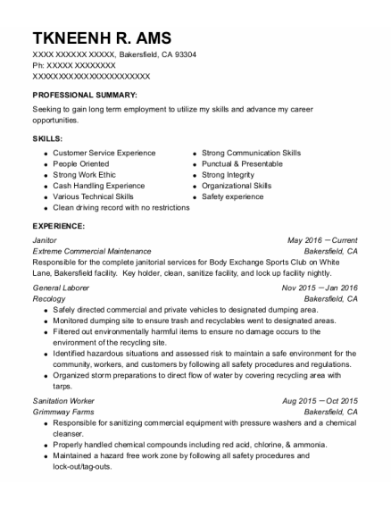 Janitor resume template California