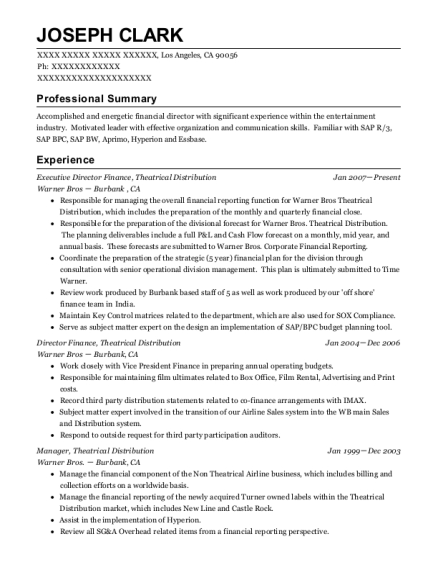 Executive Director Finance resume format California