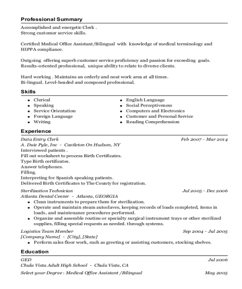 Data Entry Clerk resume example California