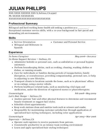 In home Caregiver resume sample California