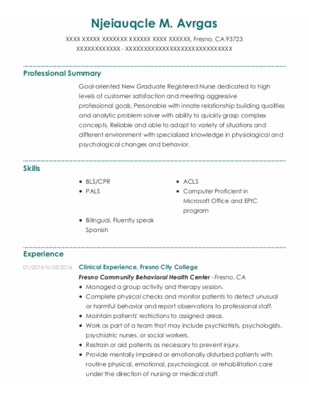 Clinical Experience resume format California
