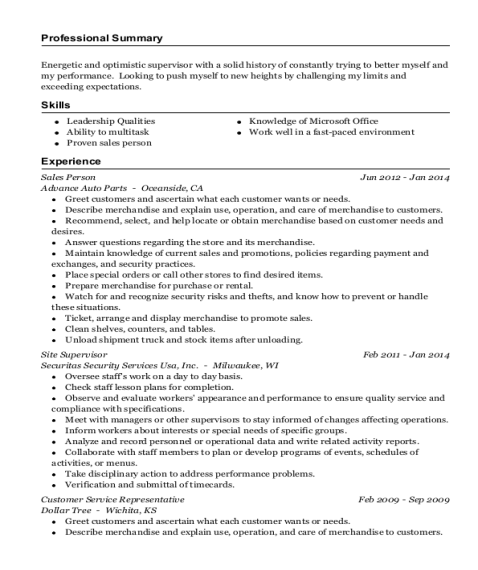 Sales Person resume example California