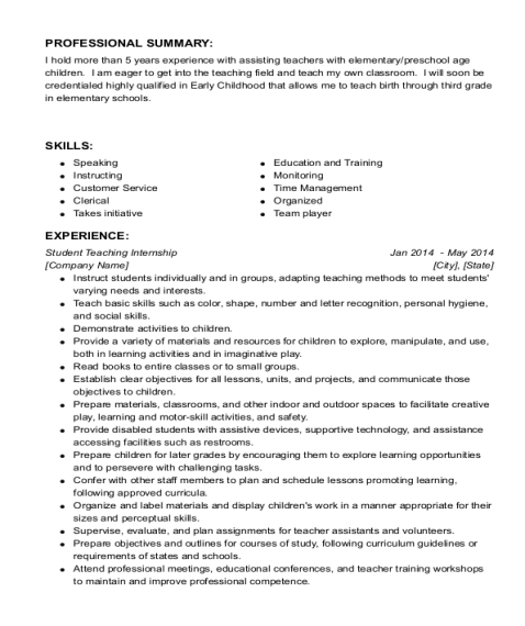 Student Teaching Internship resume template California