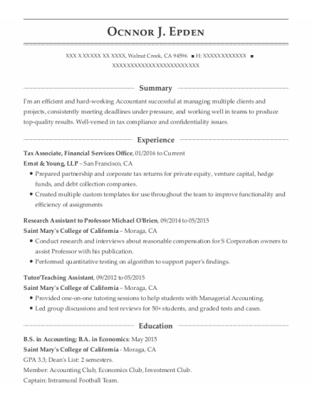 Tax Associate resume template California