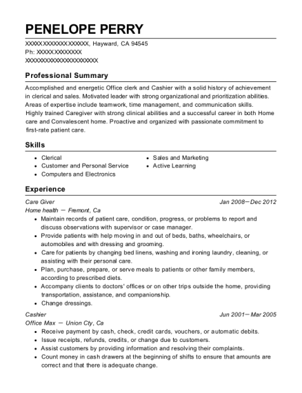 Care Giver resume example California