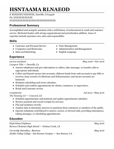 Escrow Assistant resume format California
