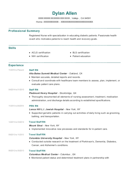 Staff RN resume template California