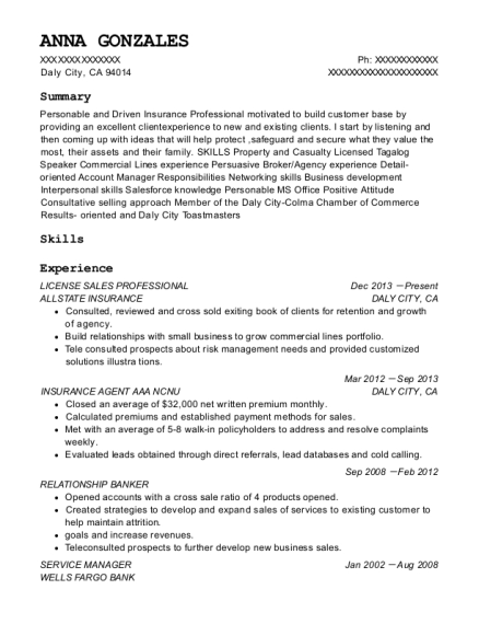 LICENSE SALES PROFESSIONAL resume format California