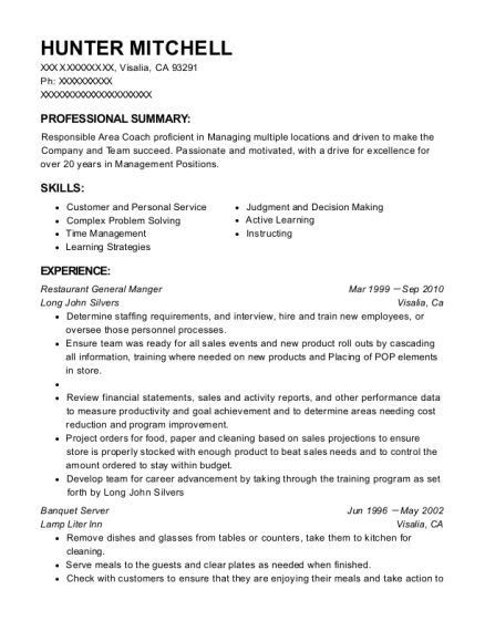 Restaurant General Manger resume example California