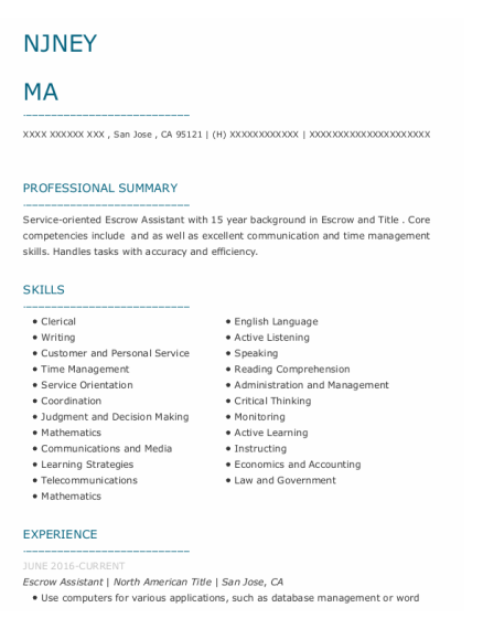 Escrow Assistant resume template California