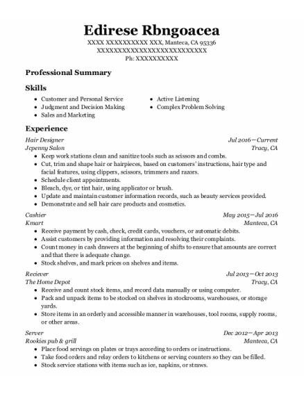 Hair Designer resume sample California