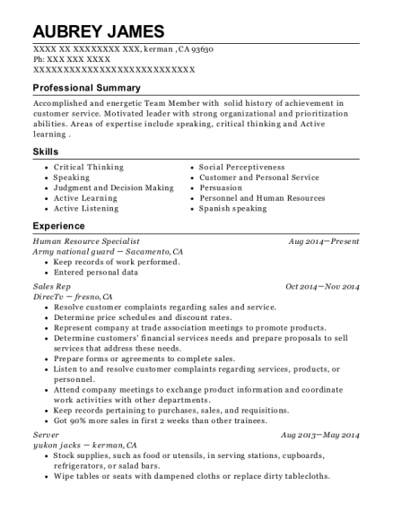 Human Resource Specialist resume example California