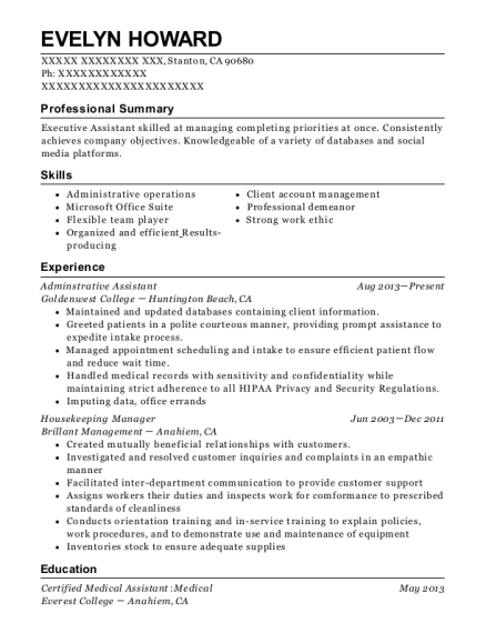 Adminstrative Assistant resume format California