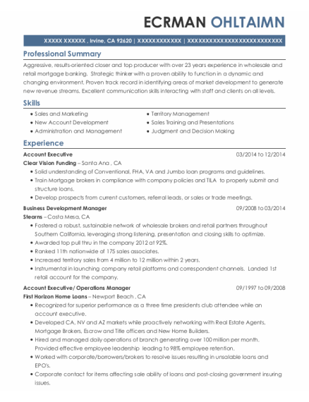 Account Executive resume example California