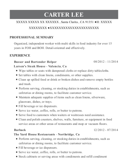 Busser and Bartender Helper resume sample California