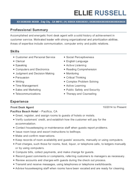 Front Desk Agent resume example California