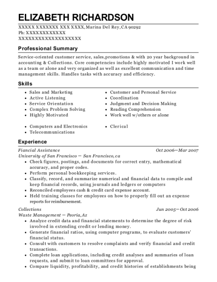 Fiancial Assistance resume sample California