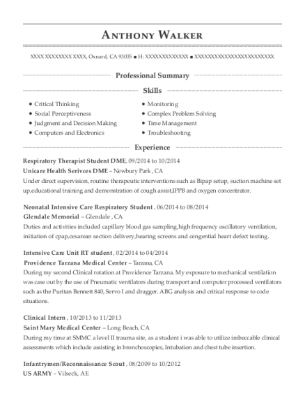 Respiratory Therapist Student DME resume example California