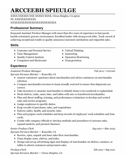 Assistant Produce Manager resume format California