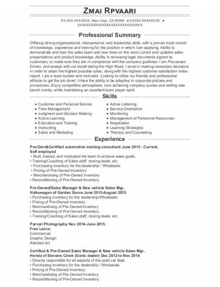 New Car Sales Manager resume template California