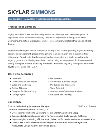 Executive Marketing Operations Manager resume template California