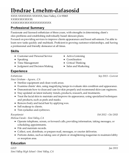 Esthetician resume template California