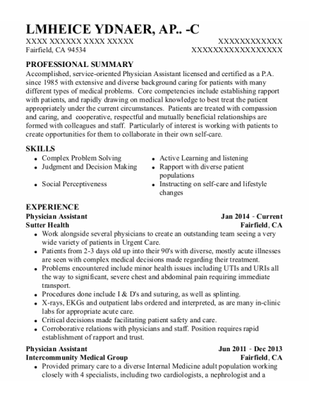 Physician Assistant resume template California