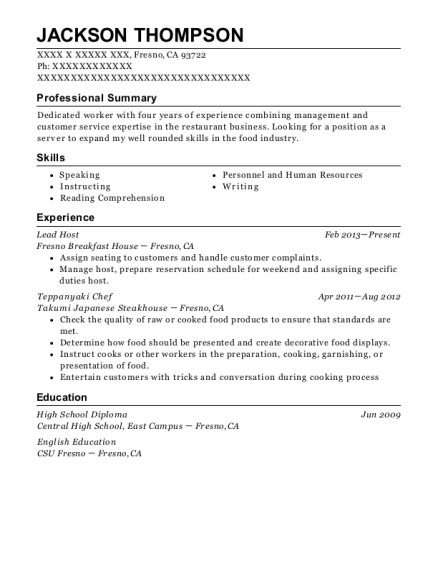 Lead Host resume example California