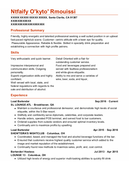 Lead Bartender resume example California