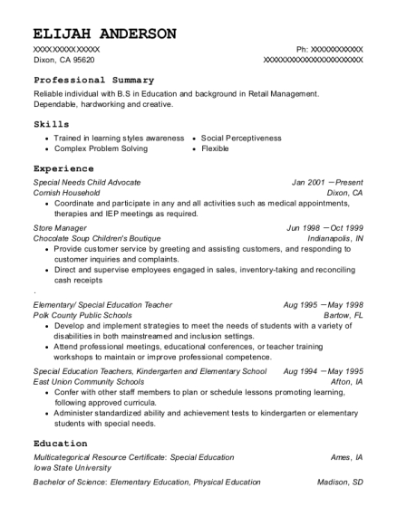 Special Needs Child Advocate resume example California