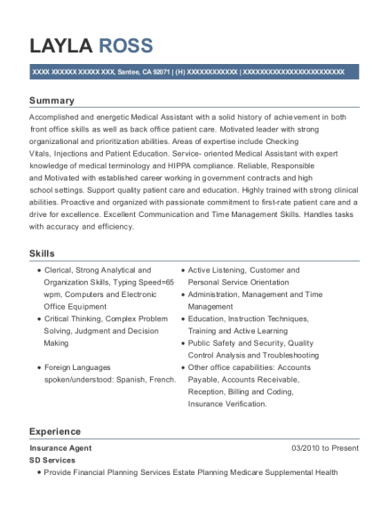 Insurance Agent resume template California